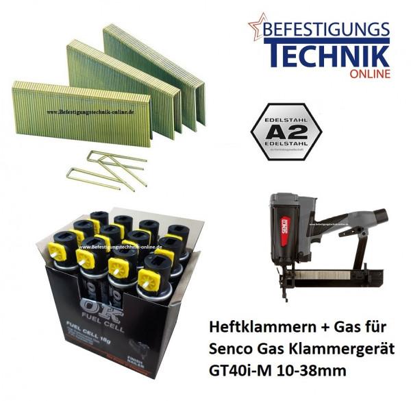 5000 Klammern 25mm rostfrei + 5x Gas für SENCO Gas Klammergerät GT40i-M KL-19.1