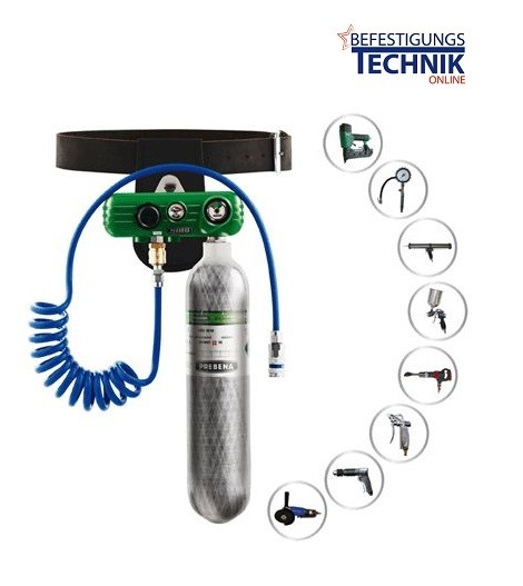 23 bar high pressure Prebena PKT Druckluft Kartuschen System mit Schlauch und Tragegürtel