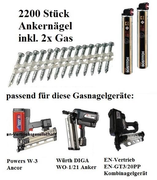 3,8x50 mm Ankernägel Kammnägel 20° plastgebunden Ring verzinkt 2x Gas für EN-GT3 Powers Würth Ancor