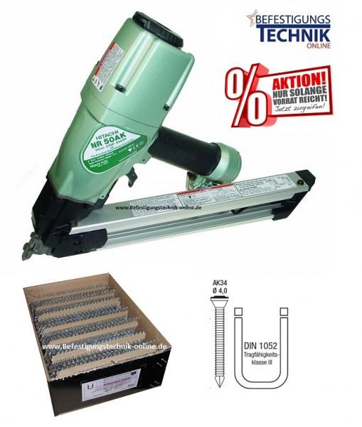 Hitachi Druckluft Ankernagler Kammnagler NR50AK 40-50mm + 2000 Ankernägel Sonderpreis
