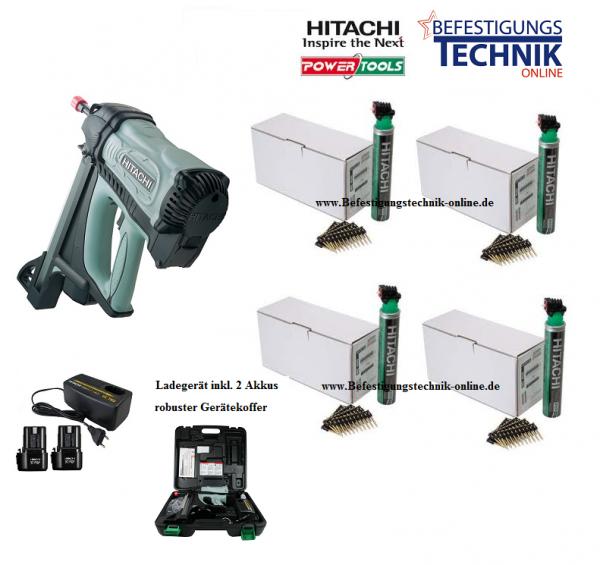 Hitachi Gas Betonnagelgerät Betonnagler NC40G (15-40mm) + 4000 Betonnägel 15mm