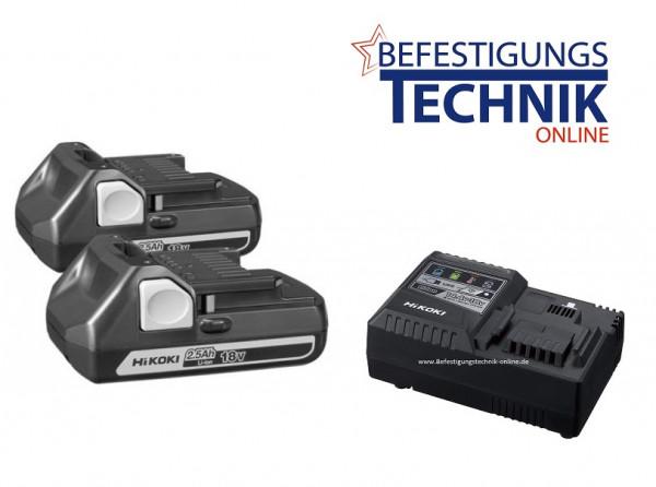 ✅ Hitachi Booster Pack 2 Akkus BSL1825 + Ladegerät UC18YFSLW0Z