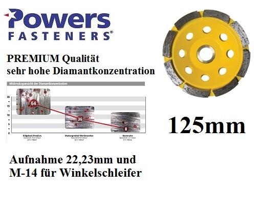 Powers PRB-GCSR125 mm PREMIUM Diamant Topfschleifer für Betonschleifer und Winkelschleifer M-14