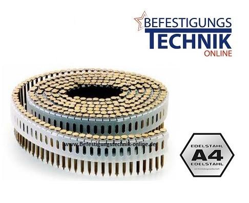 Coilnägel ZE 2,5x75mm Ring rostfrei A4 Linsenkopf 0° Tjep ZE Coilnagler Paslode Duo Fast CPN75 1,