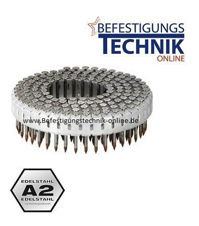 Coilnägel Mini 2,1x27mm Ring rostfrei Edelstahl A2 Linsenkopf für Senco SCN30
