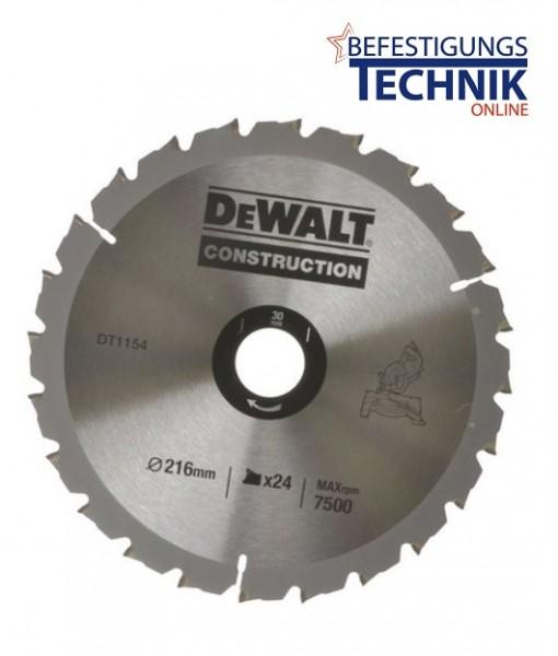 DeWalt Kreissägeblatt Ø216 x 30mm 24 Zähne DT1154 für schneller Schnitt
