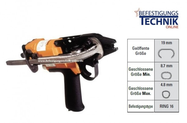 Bostitch SC742 32mm lange Nase Druckluft Ringzange für 110 Ringklammern Ring16