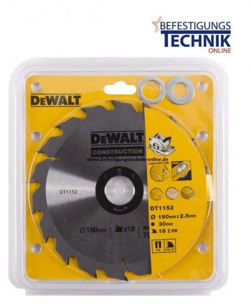 DeWalt Kreissägeblatt Ø 190 x 16/20/30mm DT1152 18 Zähne für universellen Einsatz