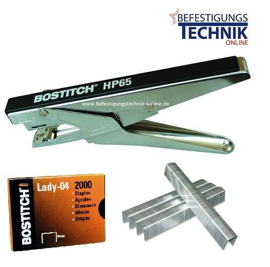 Bostitch Klammerzange Heftzange HP65 Lady Plier LADY-04mm bis 20 Blatt + Klammern