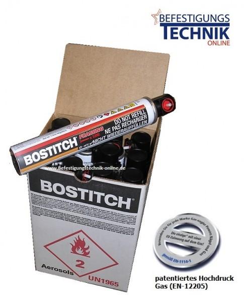 12x Bostitch 18 Bar FC80ML Hochdruck Gas Gaskartusche Ganzjahresgas 20% mehr Leistung (165mm)