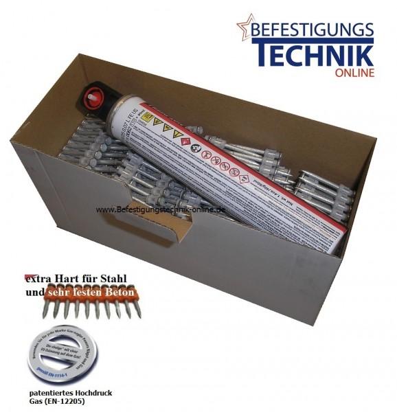 Betonnägel Ø 3,0x17mm XH extra hart inkl. 1xGas für Hitachi NC40G Senco SGP-40S Tjep CP-40Gas