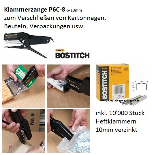 Bostitch P6C-8 Hand Klammerzange Heftzange (06-10 mm) STCR5019 PowerCrown (bis 70 Blatt)