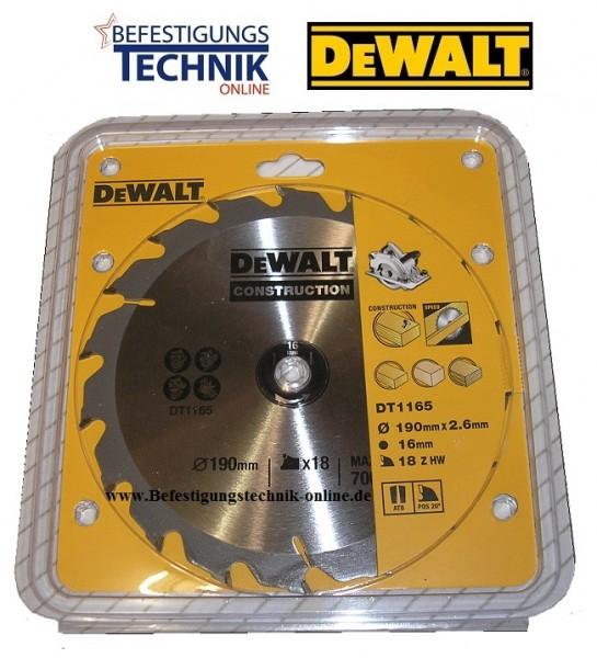 DeWalt Kreissägeblatt DT1165 Ø 190 x 16mm / 18 Z Construktion