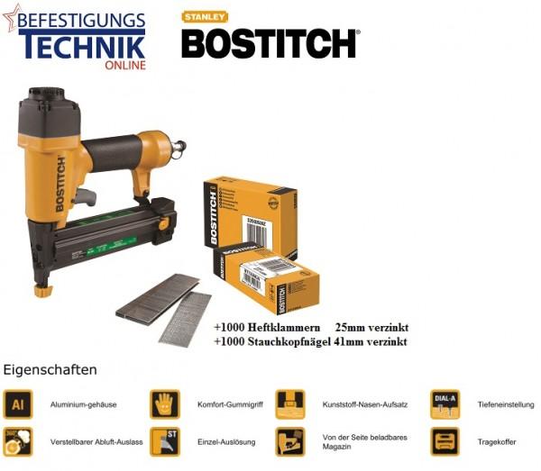 Bostitch SB-2IN1 (15-40 mm) Druckluft Kombi Klammergerät Profigerät BR-03 + KL-12
