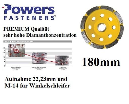 Powers PRB-GCSR180 mm PREMIUM Diamant Topfschleifer für Betonschleifer und Winkelschleifer M-14