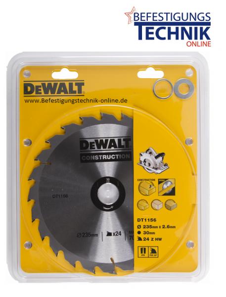 DeWalt Kreissägeblatt DT1156 Ø235 x 30mm / 24 Z Bau schnellen Schnitt