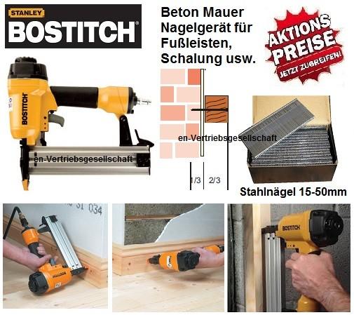 Bostitch SB-HC50FN (15-50 mm) Druckluft Fußleistennagler Betonnagler Profigerät + Sortiment Nägel