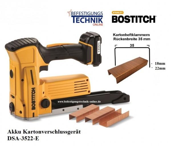 Bostitch DSA-3522-E (18-22 mm) Akku Karton Verschlusshefter Kartonverschlussgerät