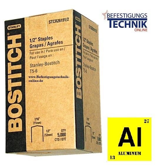 Bostitch STCR2619 6mm Klammern Aluminium für P6C-6 H30-6-E T4 T5 KL-79