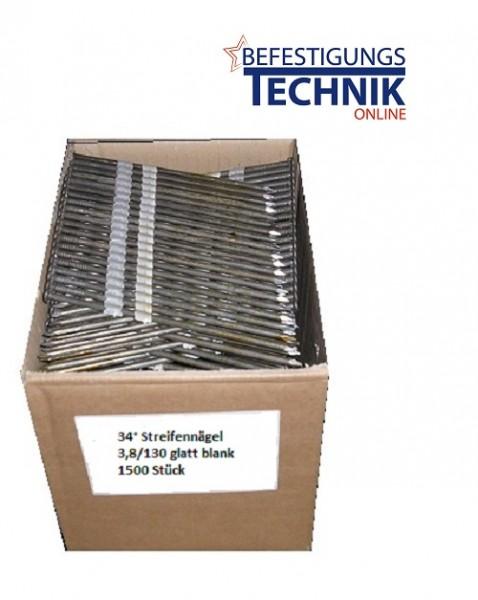 3,8x130mm Glattschaft blank Streifennägel 34° für Paslode Streifennagler 6512/130 und 6525/160 SQ