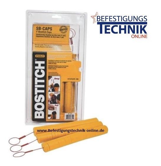 SB-Caps für Bostitch Kappen Klammergerät SL1838BC-E (D=25 mm gelb Blisterpack 1000 Stück)