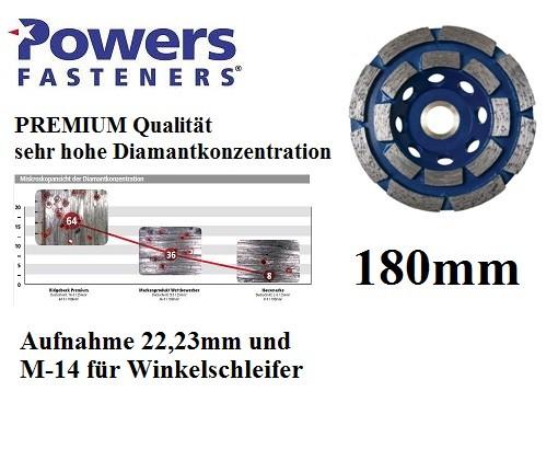Powers PRB-GCDR180 mm PREMIUM Diamant Topfschleifer für Betonschleifer und Winkelschleifer M-14