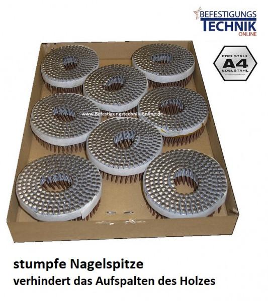 Tjep MX Coilnägel 2,1x45mm Ring Linsenkopf rostfrei A4 stumpfe Spitze für MX-50 Holzschindeln