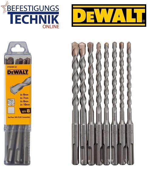 DeWalt Hammerbohrer-Set SDS-plus Stein Bohrer 8-tlg. DT60300 je 2x Ø 6/7/8/10x160 mm