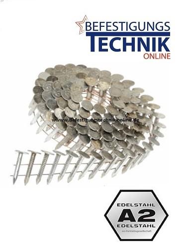 7200 Dachpappnägel 3,1x32mm Ring rostfrei A2 Coilnägel für 16° Dachpappnagler