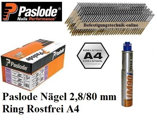 Streifennägel 34° 2,8x80mm Ring rostfrei A4 1xGas für Paslode IM90Ci IM100Ci