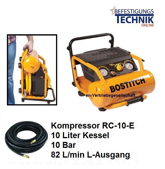 Bostitch Kompressor RC-10-E (10 Bar 82L/min Abgabeleistung) 10L Kessel