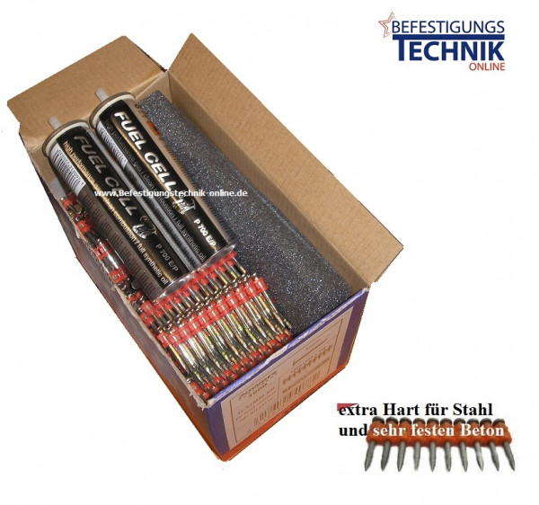 Betonnägel 3,0x38/40mm HC extra hart + Gas für Spit Pulsa 700 Betonnagler