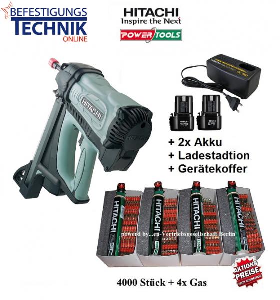 Hitachi Gas Betonnagelgerät Betonnagler CN40G (15-40mm) + 4000 Betonnägel XH extra hart