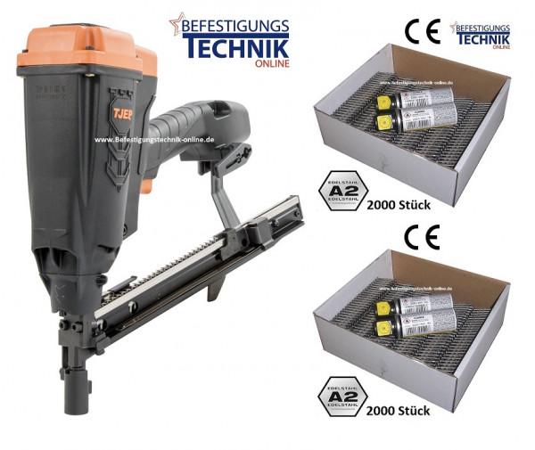TJEP HA 35 GAS 3G Haftennagler 22-35mm + 4000 Haftennägel 25mm A2 +4 Gas