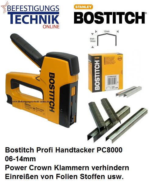 Bostitch Handtacker PC8000/T6 06-14mm STCR5019 PowerCrown + Tacker Klammern KL-65