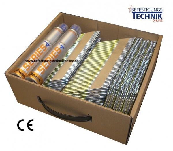 2,8x65mm ring blank + 2x Gas für Paslode IM90Ci IM100Ci 34° Streifennägel papiermagaziniert