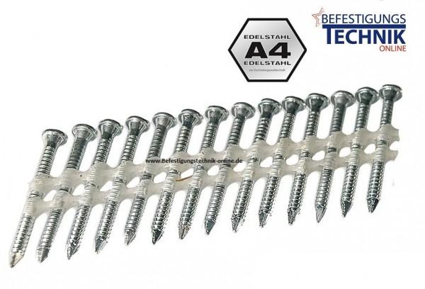 34° 4,0x40 mm Ring rostfrei A4 Ankernägel Kammnägel plastgebunden