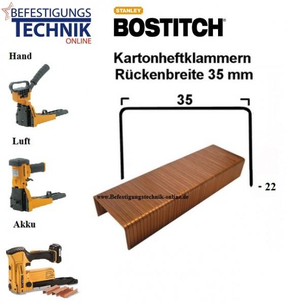B.35mm x L.22mm verbronzt KL-07/22 Kartonverschlussklammer Verpackungsklammer