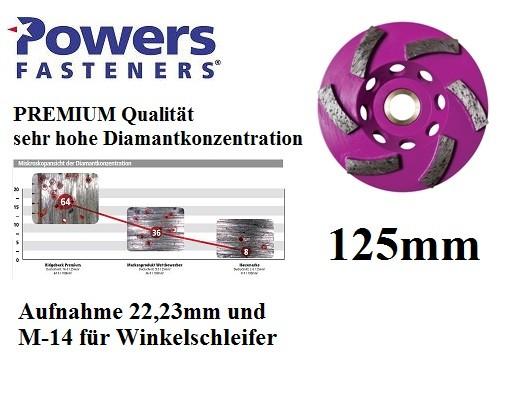 Powers PRB-GCR125 mm PREMIUM Diamant Topfschleifer für Betonschleifer und Winkelschleifer M-14