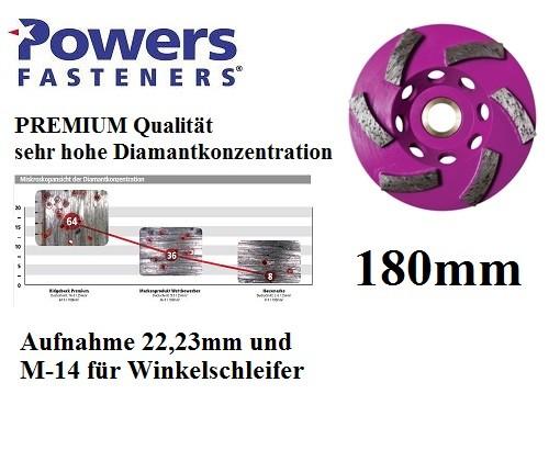 Powers PRB-GCR180 mm PREMIUM Diamant Topfschleifer für Betonschleifer und Winkelschleifer M-14