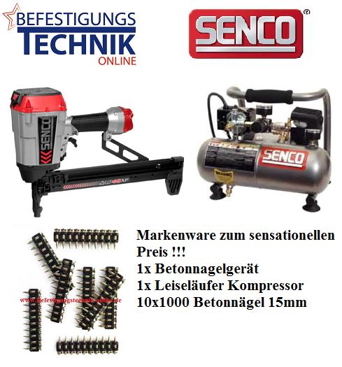 Senco Betonnagelgerät Betonnagler SAP40XP Druckluft (15-40mm) + Kompressor PC1010 + 10000 Betonnägel